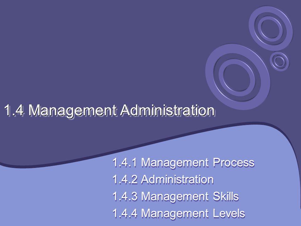 1.4 Management Administration 1.4.1 Management Process 1.4.2 Administration 1.4.3 Management Skills 1.4.4 Management Levels 1.4.1 Management Process 1