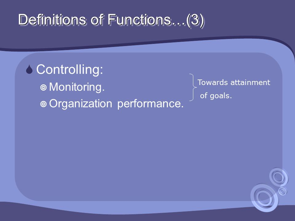 Definitions of Functions…(3)  Controlling:  Monitoring.