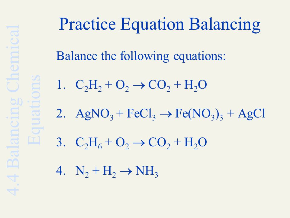Balance Equation Chemistry Practice  Jennarocca