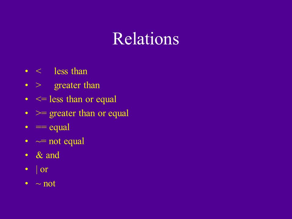 Relations <less than >greater than <= less than or equal >= greater than or equal == equal ~= not equal & and | or ~ not