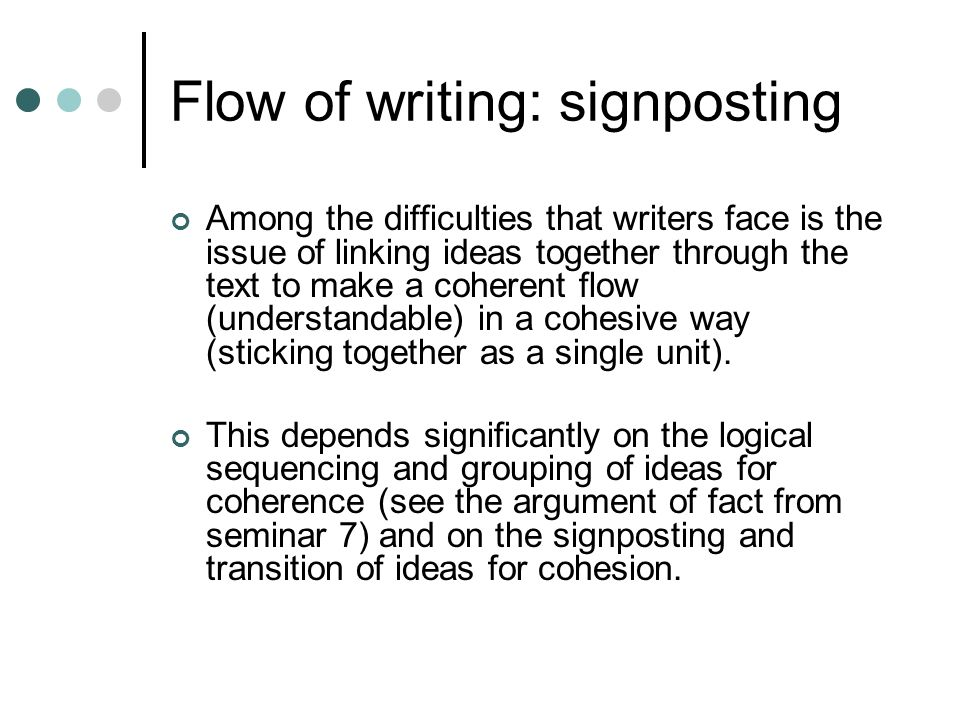essay writing signposts Writing your assignment structuring an introduction, a paragraph and a conclusion signposting sentences the 'idea into sentence' chart how to write in an academic.