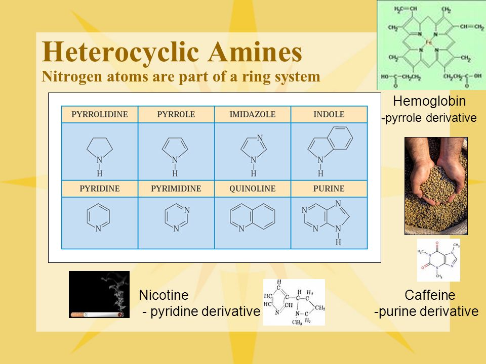 Heterocyclic Amines Nitrogen atoms are part of a ring system Hemoglobin -pyrrole derivative Nicotine Caffeine - pyridine derivative -purine derivative