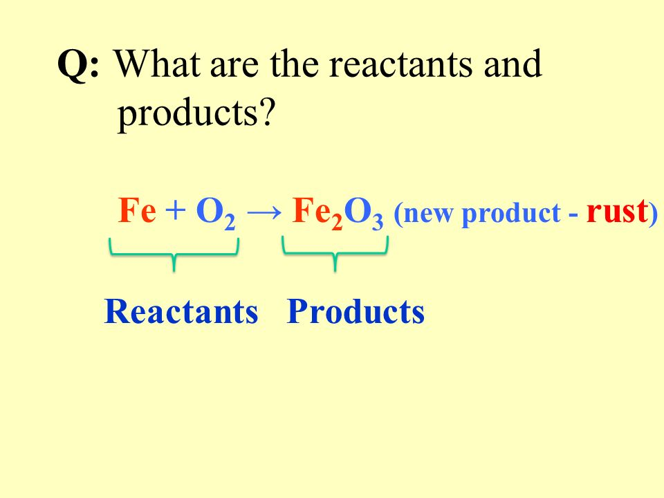 Q: What is the general equation for the reaction in which iron rusts.