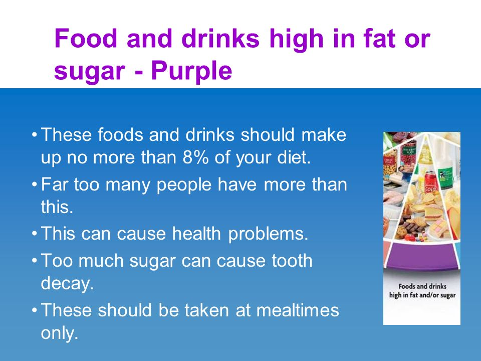 Food and drinks high in fat or sugar - Purple These foods and drinks should make up no more than 8% of your diet.