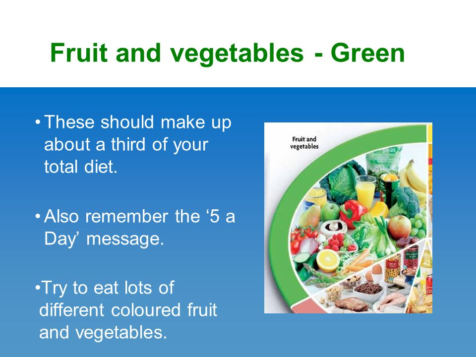 Fruit and vegetables - Green These should make up about a third of your total diet.