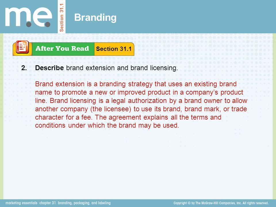 Branding Describe brand extension and brand licensing.