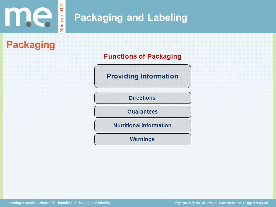 Packaging and Labeling Section 31.2 Packaging Providing Information Functions of Packaging Directions Guarantees Nutritional Information Warnings