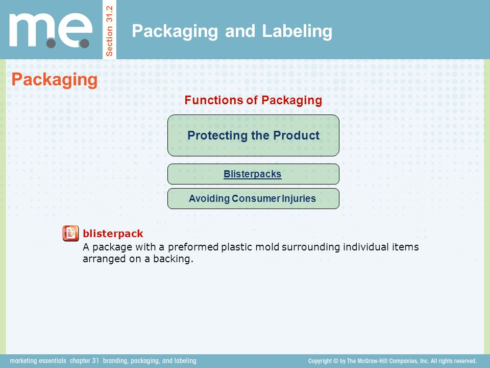 Packaging and Labeling Section 31.2 Packaging Protecting the Product Functions of Packaging Blisterpacks Avoiding Consumer Injuries blisterpack A package with a preformed plastic mold surrounding individual items arranged on a backing.