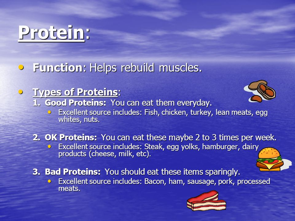 Protein: Function: Helps rebuild muscles. Function: Helps rebuild muscles.
