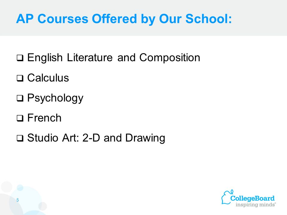 AP Courses Offered by Our School:  English Literature and Composition  Calculus  Psychology  French  Studio Art: 2-D and Drawing 5