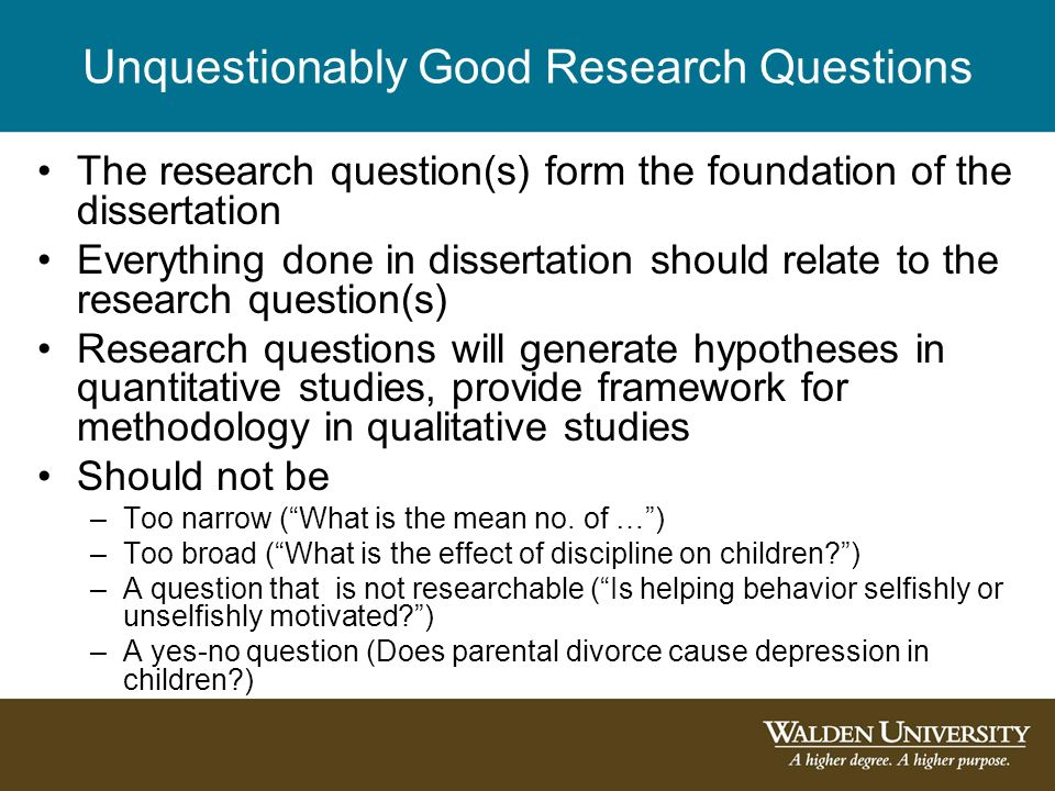 Dissertation Research Questions Education
