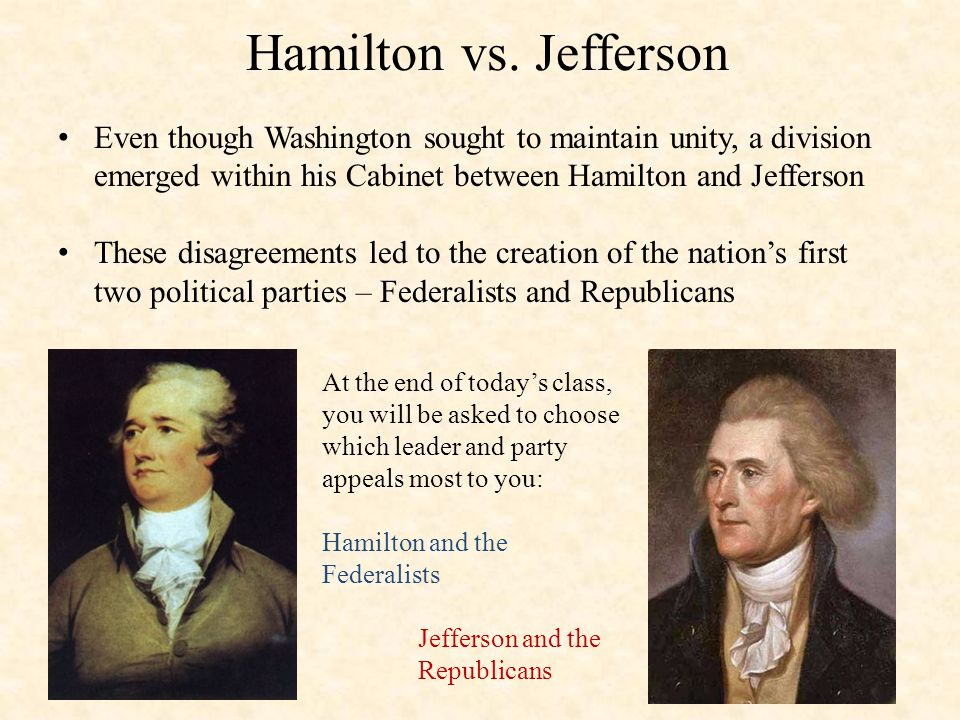 jefferson vs hamilton federalists vs republicans 1-16 of 31 results for hamilton vs jefferson jefferson vs hamilton feb 24, 2016 the federalists vs the jeffersonian republicans mar 1968.