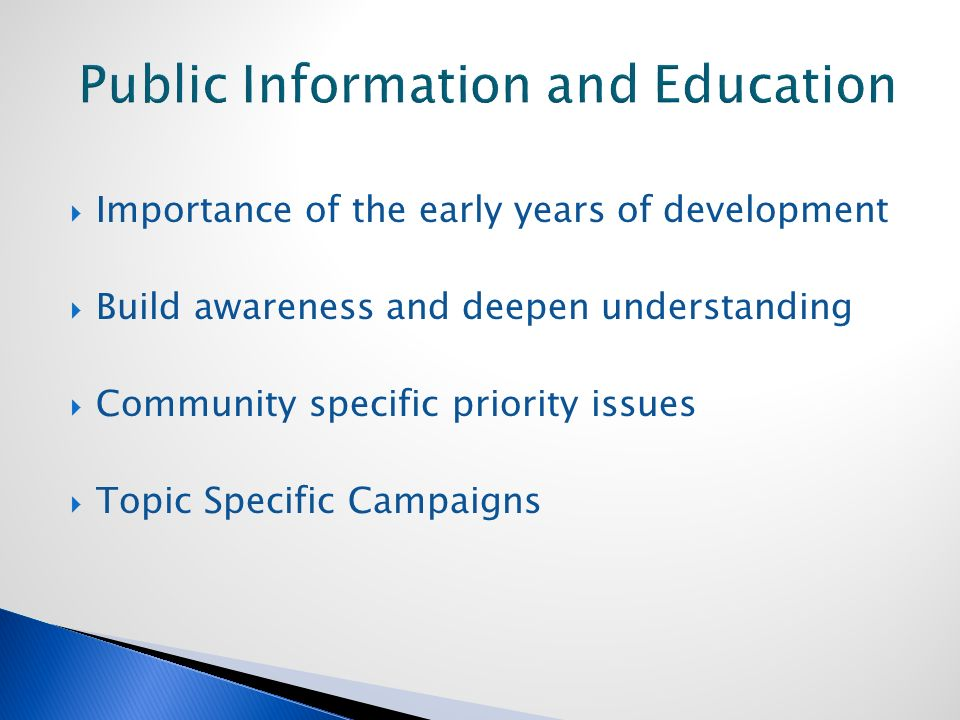  Importance of the early years of development  Build awareness and deepen understanding  Community specific priority issues  Topic Specific Campaigns