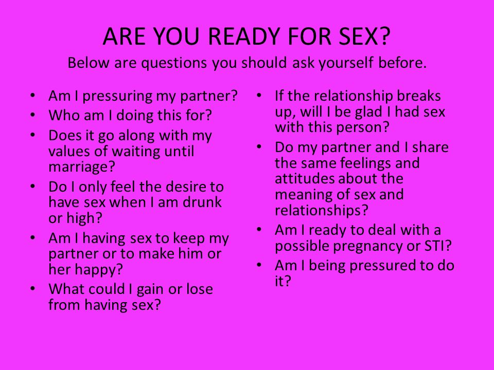 When are you ready for sex