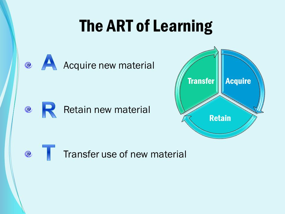 The ART of Learning Acquire new material Retain new material Transfer use of new material Acquire Retain Transfer