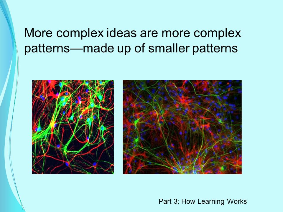 More complex ideas are more complex patterns—made up of smaller patterns Part 3: How Learning Works