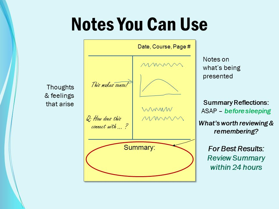 Notes You Can Use Summary Reflections: ASAP – before sleeping What's worth reviewing & remembering.
