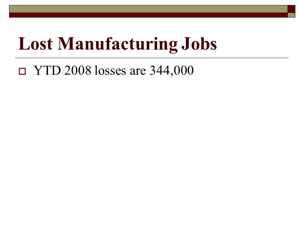 Lost Manufacturing Jobs  YTD 2008 losses are 344,000
