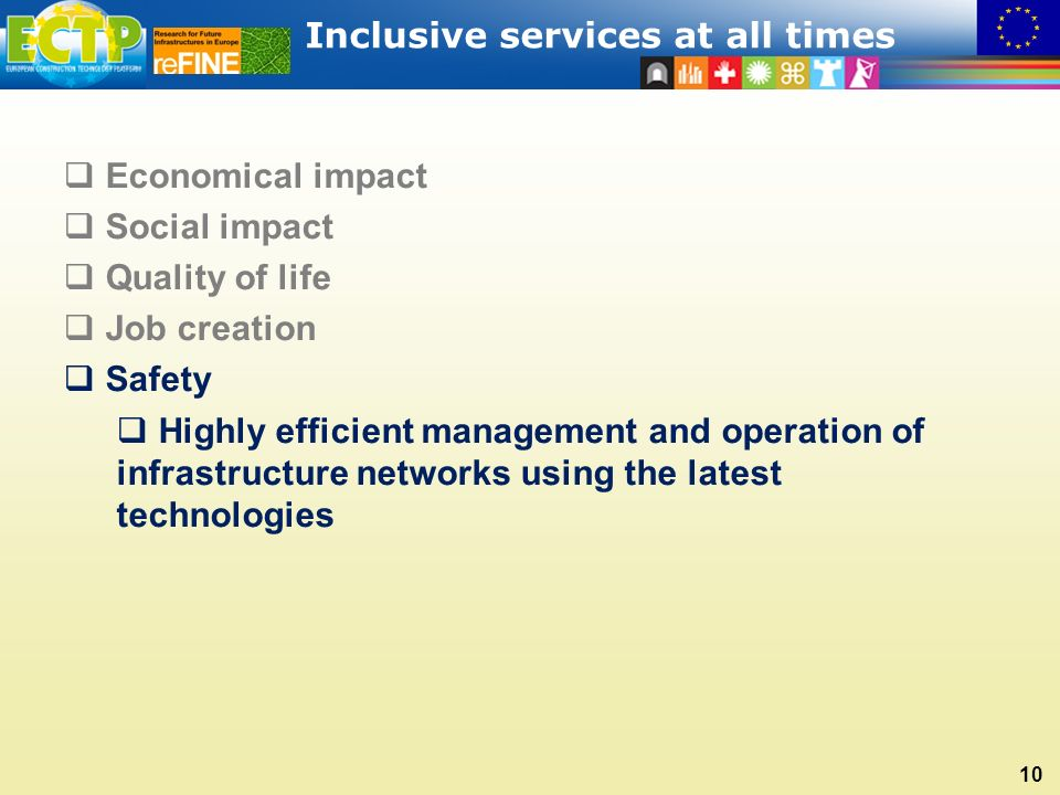 Inclusive services at all times 10  Economical impact  Social impact  Quality of life  Job creation  Safety  Highly efficient management and operation of infrastructure networks using the latest technologies