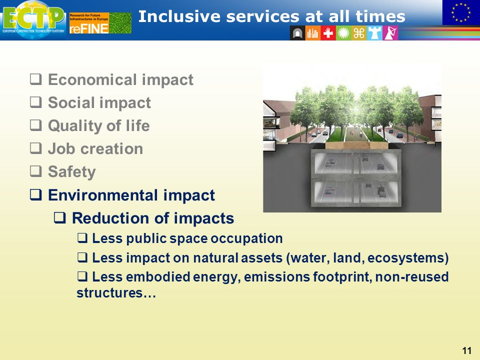 Inclusive services at all times 11  Economical impact  Social impact  Quality of life  Job creation  Safety  Environmental impact  Reduction of impacts  Less public space occupation  Less impact on natural assets (water, land, ecosystems)  Less embodied energy, emissions footprint, non-reused structures…