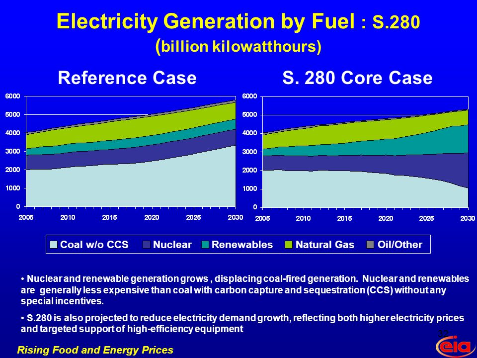 Rising Food and Energy Prices Electricity Generation by Fuel : S.280 ( billion kilowatthours) Reference CaseS.