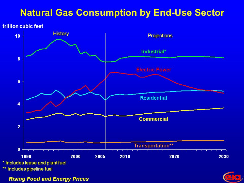Rising Food and Energy Prices Natural Gas Consumption by End-Use Sector Transportation** Industrial* Residential Commercial Electric Power Projections History * Includes lease and plant fuel ** Includes pipeline fuel trillion cubic feet