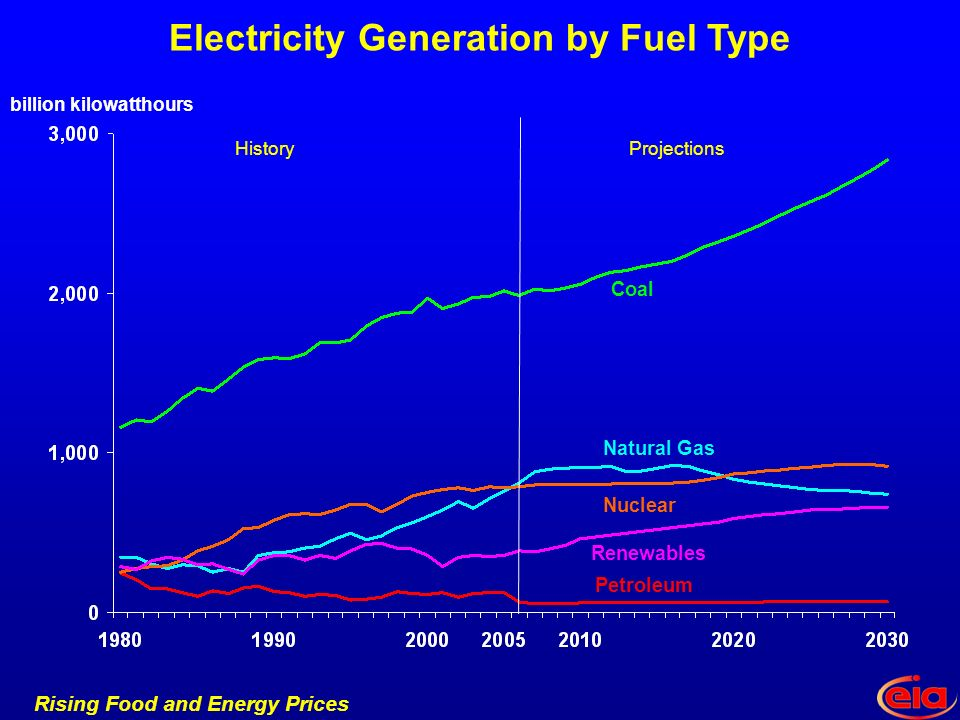 Rising Food and Energy Prices Electricity Generation by Fuel Type Petroleum Renewables Coal Natural Gas Nuclear HistoryProjections billion kilowatthours