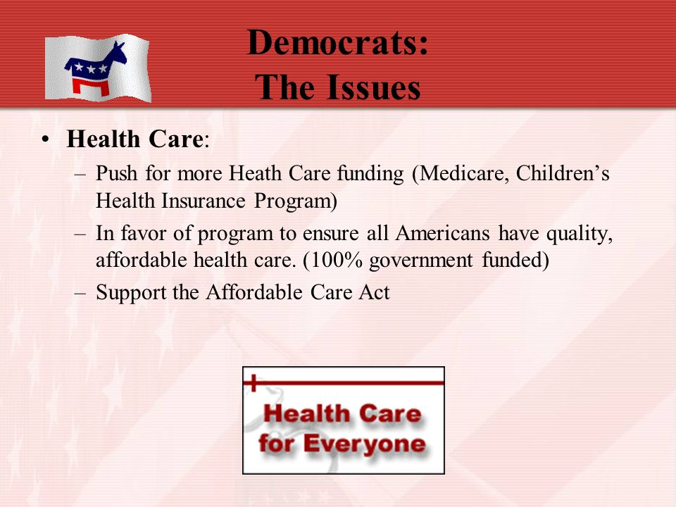 Democrats: The Issues Health Care: –Push for more Heath Care funding (Medicare, Children's Health Insurance Program) –In favor of program to ensure all Americans have quality, affordable health care.