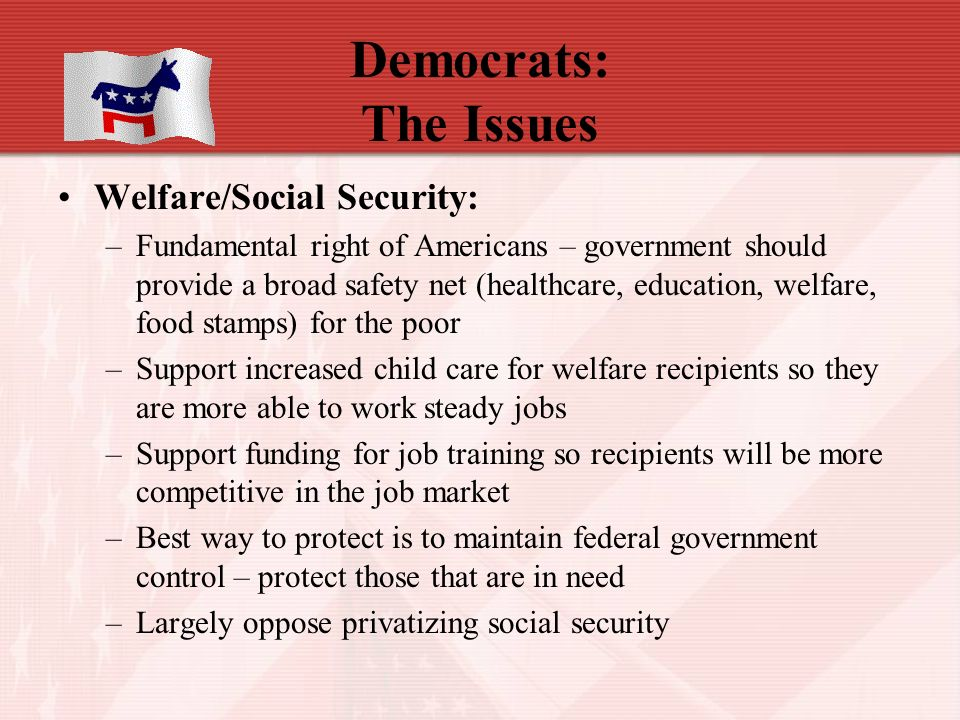 Democrats: The Issues Welfare/Social Security: –Fundamental right of Americans – government should provide a broad safety net (healthcare, education, welfare, food stamps) for the poor –Support increased child care for welfare recipients so they are more able to work steady jobs –Support funding for job training so recipients will be more competitive in the job market –Best way to protect is to maintain federal government control – protect those that are in need –Largely oppose privatizing social security