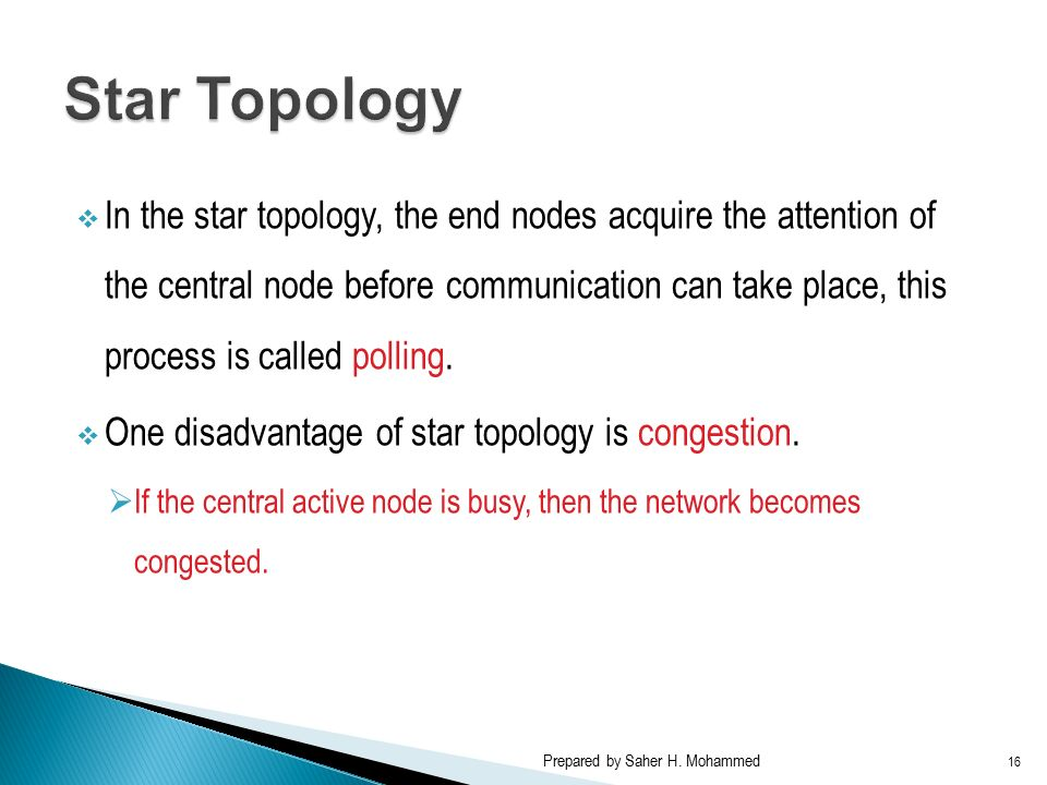  In the star topology, the end nodes acquire the attention of the central node before communication can take place, this process is called polling.