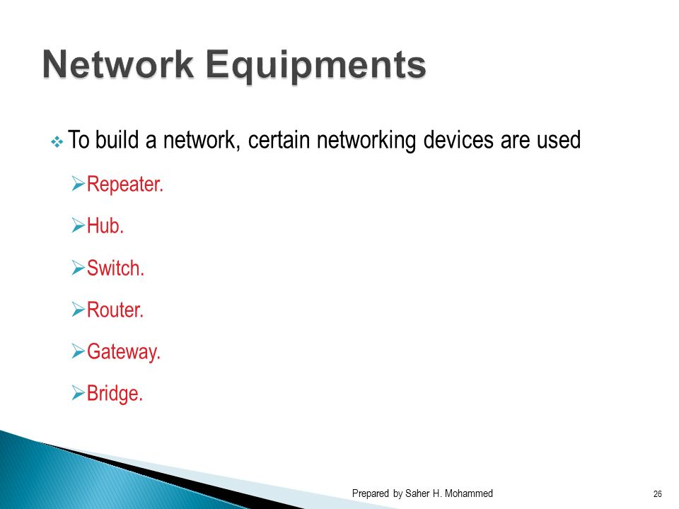  To build a network, certain networking devices are used  Repeater.