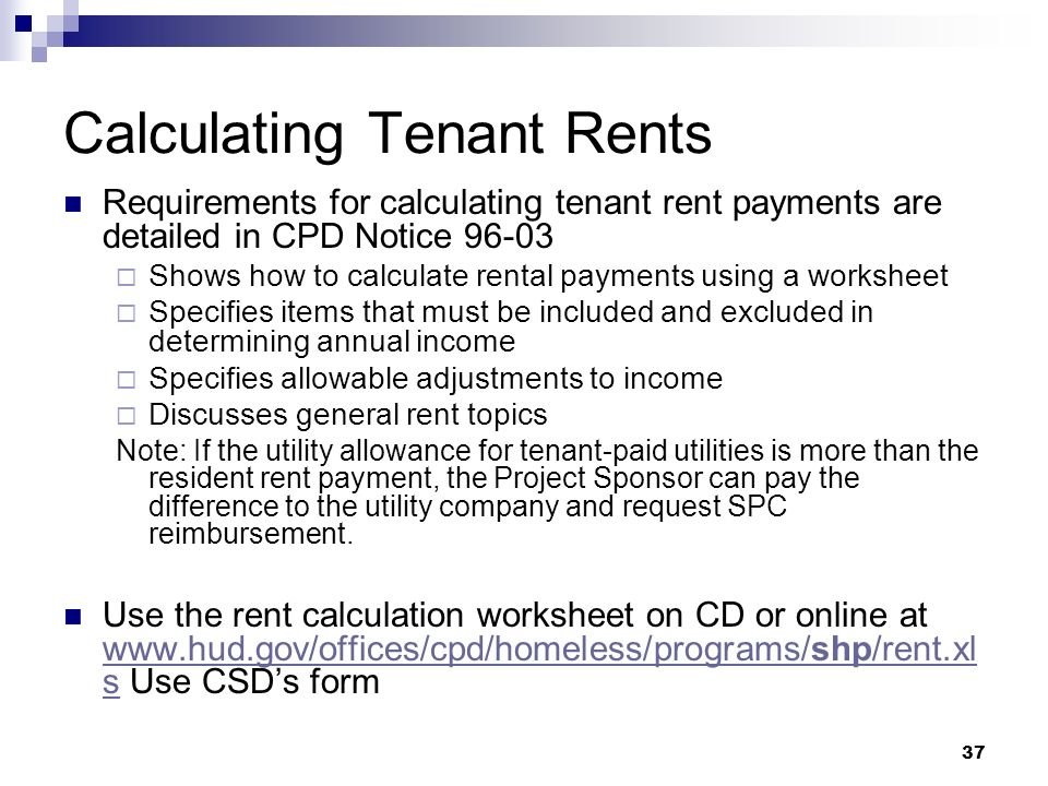 1 Shelter Plus Care Focus on the Basics Annual Technical – Hud Rent Calculation Worksheet