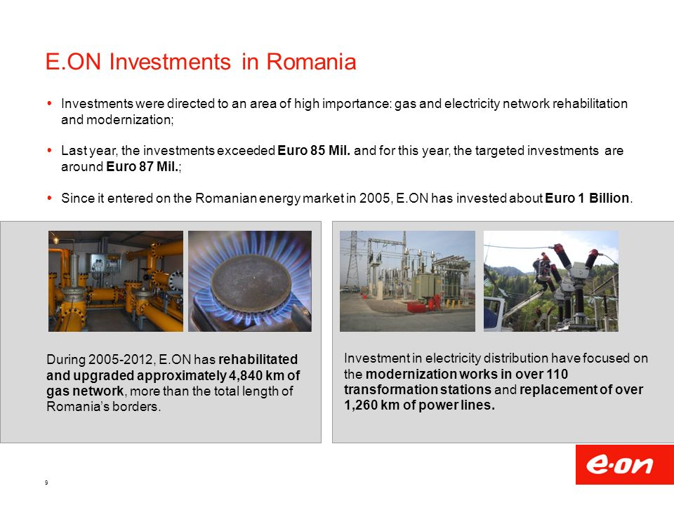 E.ON Investments in Romania  Investments were directed to an area of high importance: gas and electricity network rehabilitation and modernization;  Last year, the investments exceeded Euro 85 Mil.