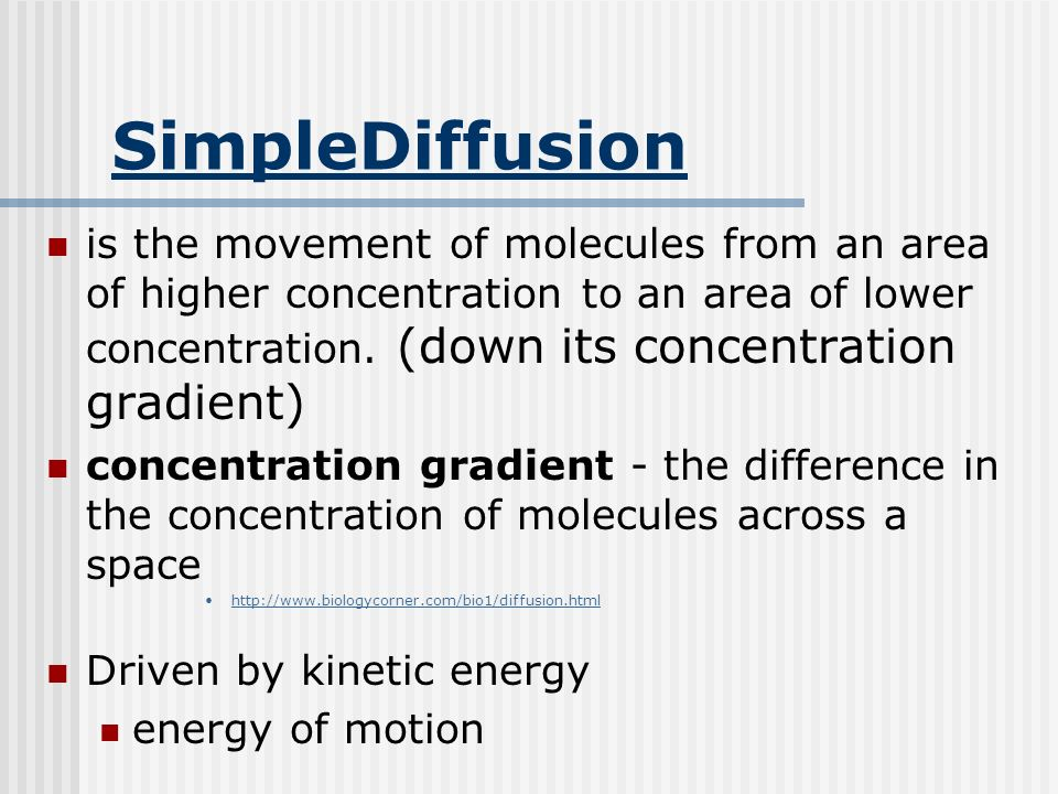 SimpleDiffusion is the movement of molecules from an area of higher concentration to an area of lower concentration.
