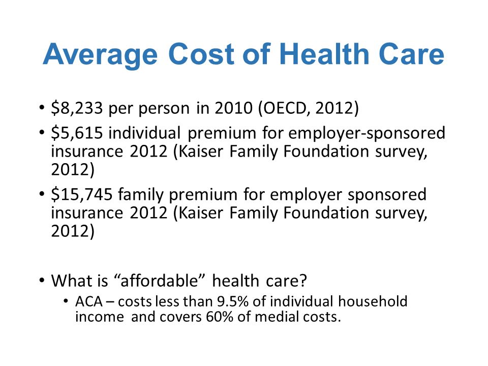 Average Cost of Health Care $8,233 per person in 2010 (OECD, 2012) $5,615 individual premium for employer-sponsored insurance 2012 (Kaiser Family Foundation survey, 2012) $15,745 family premium for employer sponsored insurance 2012 (Kaiser Family Foundation survey, 2012) What is affordable health care.