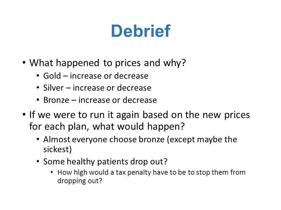 Debrief What happened to prices and why.