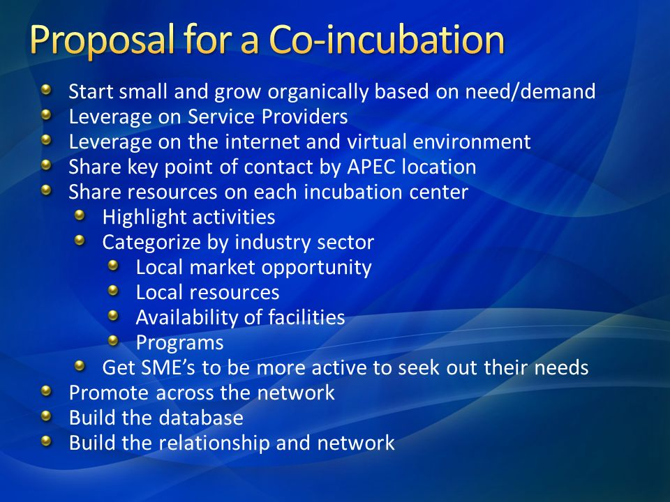 Start small and grow organically based on need/demand Leverage on Service Providers Leverage on the internet and virtual environment Share key point of contact by APEC location Share resources on each incubation center Highlight activities Categorize by industry sector Local market opportunity Local resources Availability of facilities Programs Get SME's to be more active to seek out their needs Promote across the network Build the database Build the relationship and network
