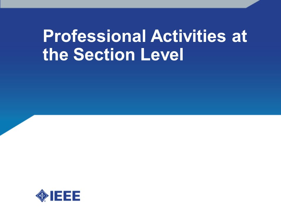 Professional Activities at the Section Level