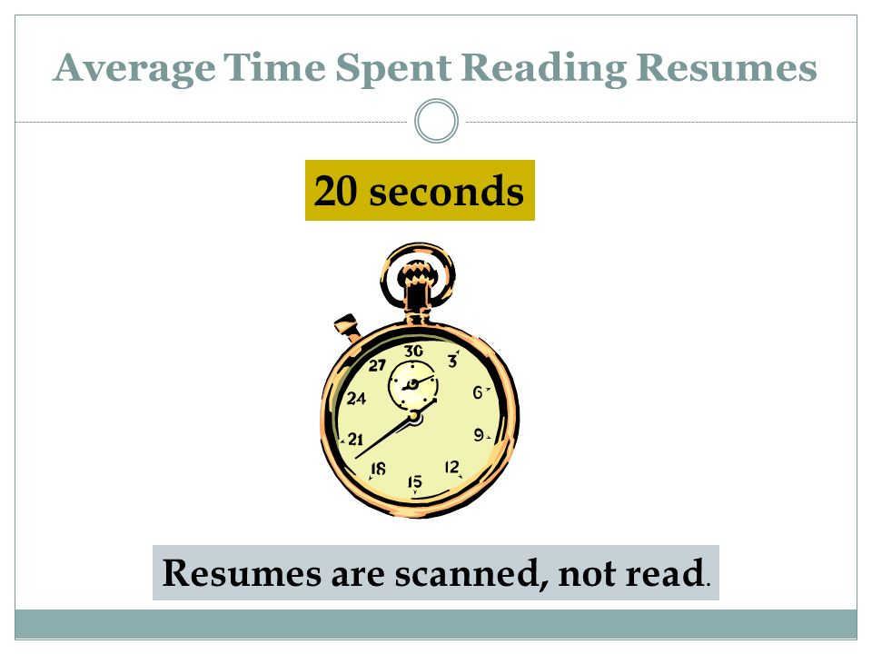 Average Time Spent Reading Resumes 20 seconds Resumes are scanned, not read.