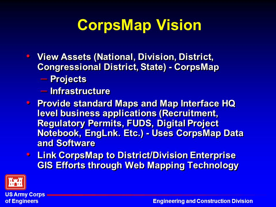 5 Engineering And Construction Division Us Army Corps Of Engineers Corpsmap Vision
