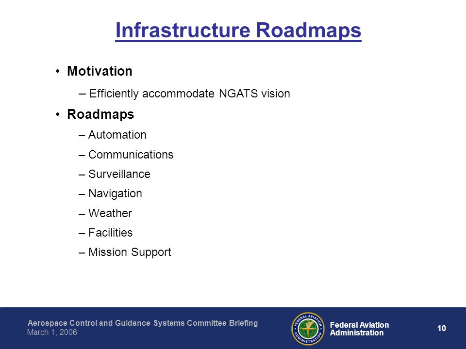 Aerospace Control and Guidance Systems Committee Briefing 10 Federal Aviation Administration March 1, 2006 Motivation – Efficiently accommodate NGATS vision Roadmaps – Automation – Communications – Surveillance – Navigation – Weather – Facilities – Mission Support Infrastructure Roadmaps