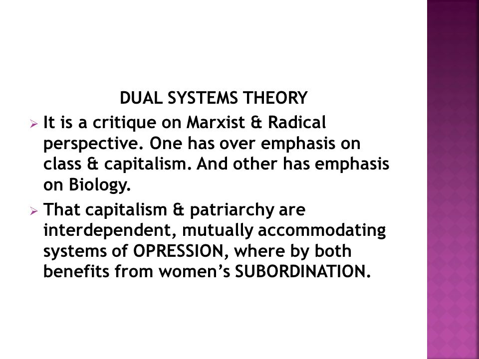 DUAL SYSTEMS THEORY  It is a critique on Marxist & Radical perspective.