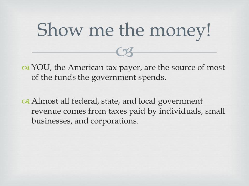   YOU, the American tax payer, are the source of most of the funds the government spends.