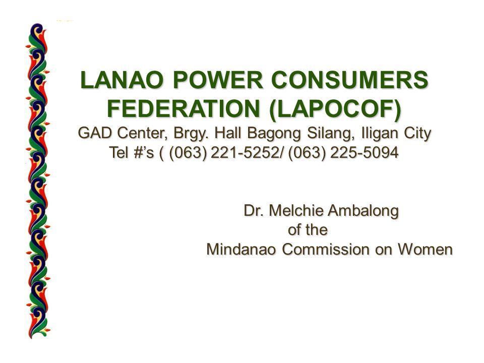LANAO POWER CONSUMERS FEDERATION (LAPOCOF) GAD Center, Brgy.