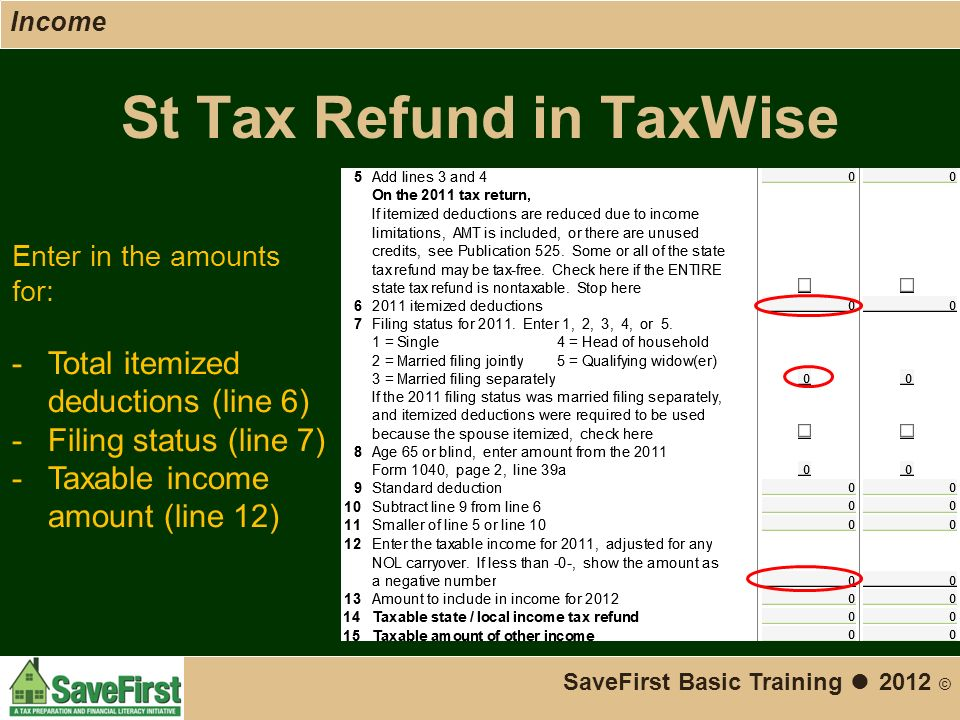 St Tax Refund in TaxWise SaveFirst Basic Training ● 2012 © Enter in the amounts for: -Total itemized deductions (line 6) -Filing status (line 7) -Taxable income amount (line 12) Income