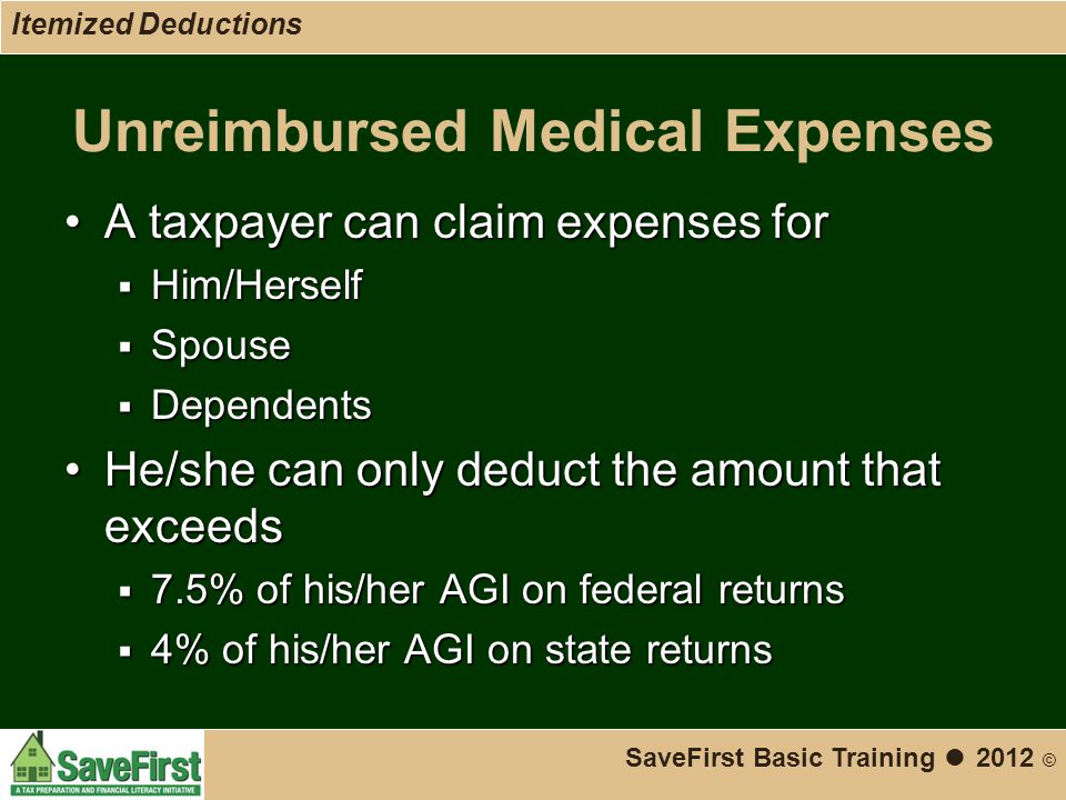 Unreimbursed Medical Expenses A taxpayer can claim expenses forA taxpayer can claim expenses for  Him/Herself  Spouse  Dependents He/she can only deduct the amount that exceedsHe/she can only deduct the amount that exceeds  7.5% of his/her AGI on federal returns  4% of his/her AGI on state returns SaveFirst Basic Training ● 2012 © Itemized Deductions