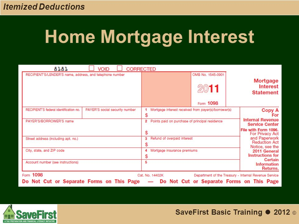 Home Mortgage Interest SaveFirst Basic Training ● 2012 © Itemized Deductions