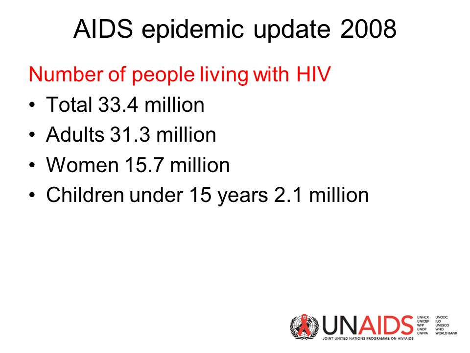 AIDS epidemic update 2008 Number of people living with HIV Total 33.4 million Adults 31.3 million Women 15.7 million Children under 15 years 2.1 million