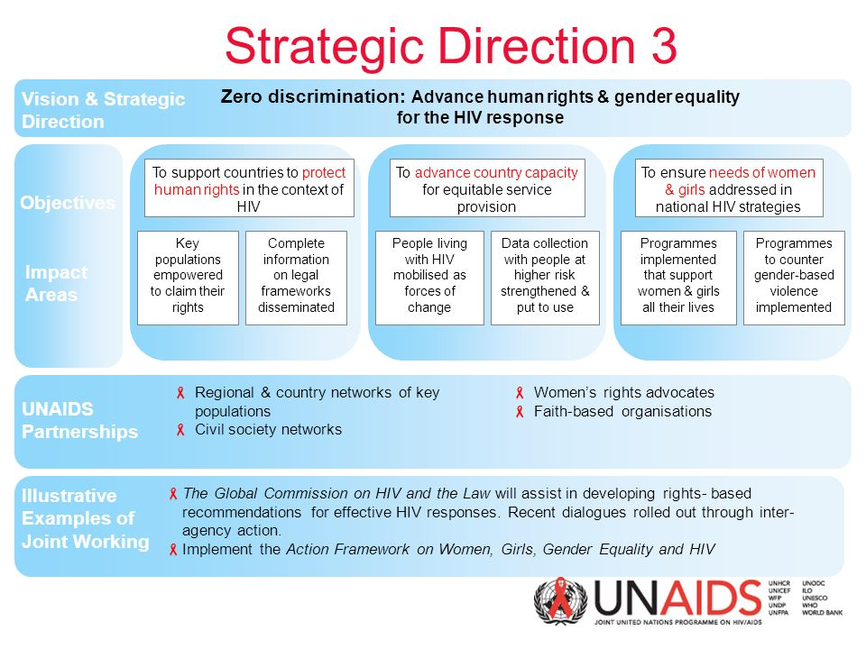 Zero discrimination: Advance human rights & gender equality for the HIV response Strategic Direction 3 Vision UNAIDS Partnerships Key populations empowered to claim their rights Objectives Impact Areas Illustrative Examples of Joint Working Vision & Strategic Direction  The Global Commission on HIV and the Law will assist in developing rights- based recommendations for effective HIV responses.