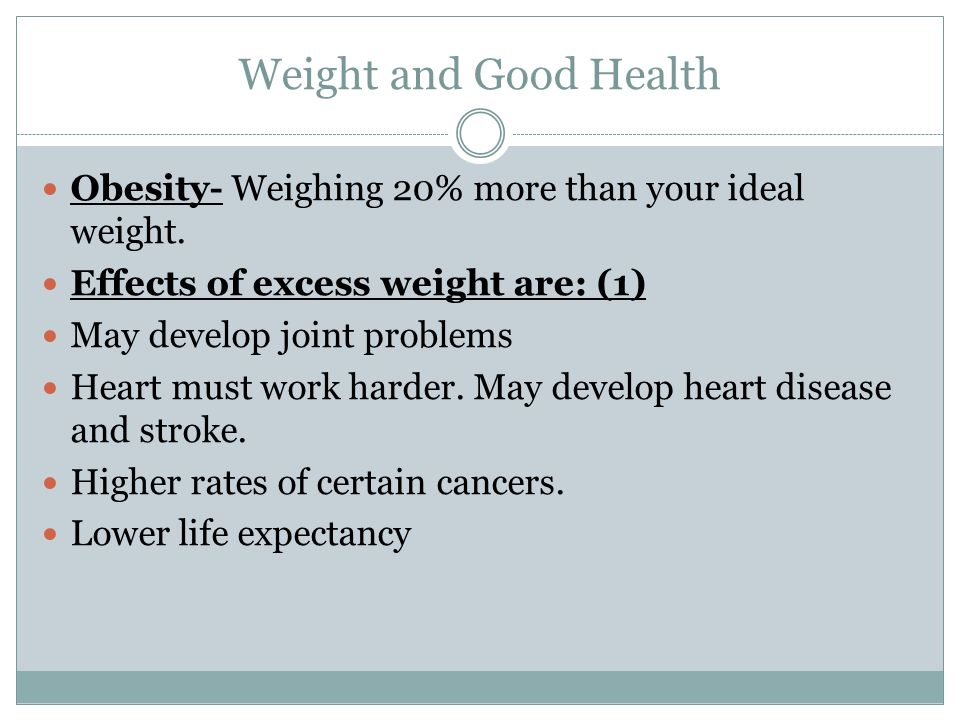 Weight and Good Health Obesity- Weighing 20% more than your ideal weight.
